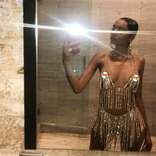 2019 Women Sexy Body Chain Charm Exaggerated Luxury rhinestones Bra chain and Belly Waist Chain Statement Jewelry for Women graceful exaggerated alloy multilayered body chain for women