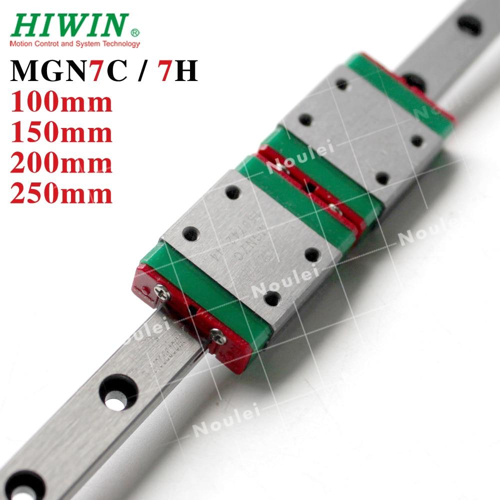 MGN7 HIWIN 1pcs Linear Rail 100mm 150mm 200mm with 2pcs MGN7H MGN7C Linear Block MGN 7