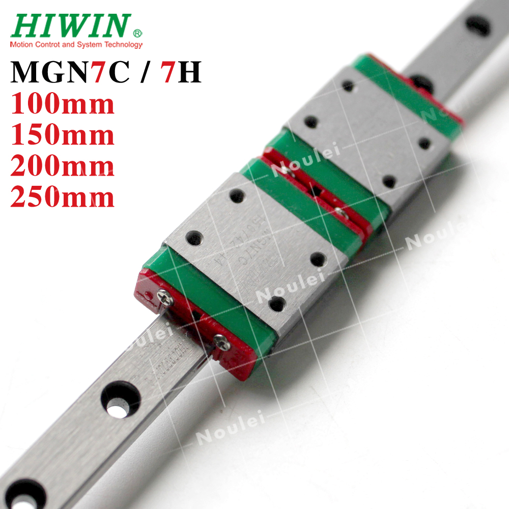MGN7 HIWIN 1pcs Linear Rail 100mm 150mm 200mm with 2pcs MGN7H MGN7C Linear Block MGN 7  7mm Guideways