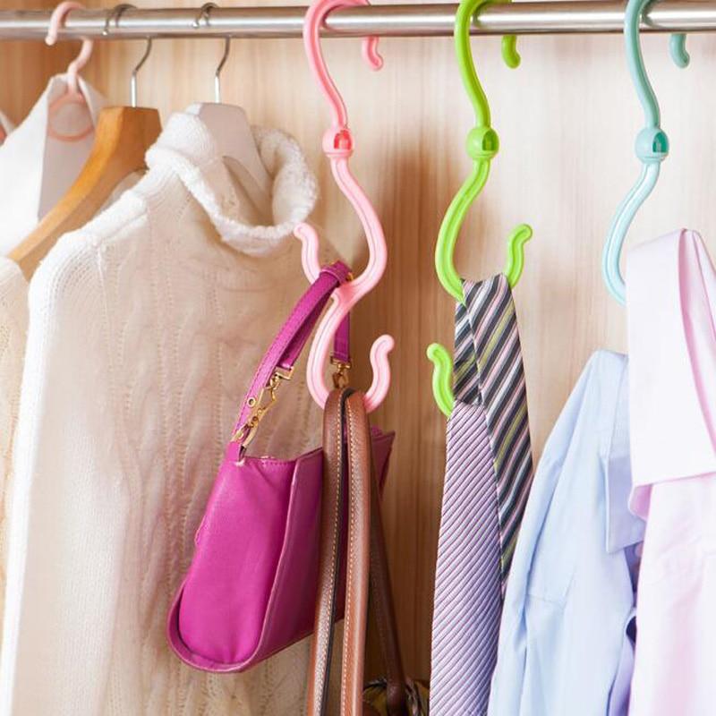 3ks / lot plastová obuv stojan protiskluzový věšák na šaty otočné háčky pro dvojitou hlavu šatní skříně kravata spodní prádlo háček