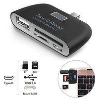 card reader Baolyda Card Reader 4in1 OTG/TF/SD Smart Mini Card Reader Type C Adapter USB / Micro USB Charge Phone Port Combo Card Reader (3)