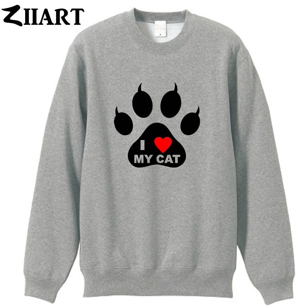 Open-Minded I Love My Cat Pet Pad Paw Print Red Heart Couple Clothes Girls Woman Cotton Autumn Winter Fleece Sweatshirt Women's Clothing