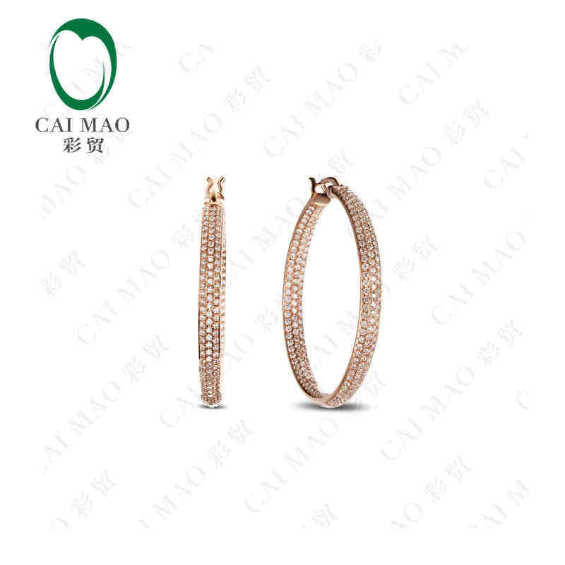 CaiMao 18KT/750 Rose Gold 3.51 ct Full Cut Diamond Earrings Jewelry Gemstone