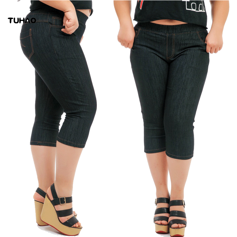 TUHAO 2018 Women Fitness Pencil   Pants   Summer Stretch Plus Size 5XL 4XL office lady Calf-Length Skinny   Pants   female   Capris   YH38