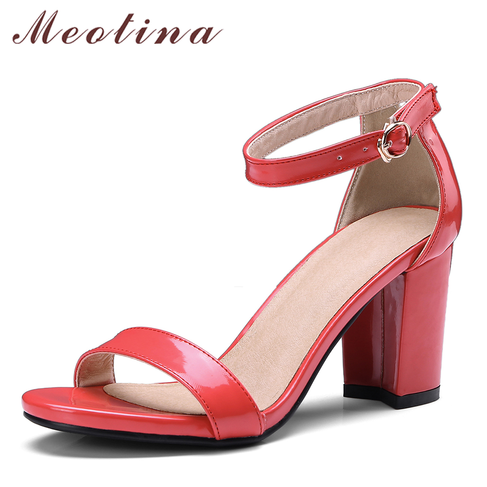 d622c9c879fdf Meotina 2018 Summer Sandals Women Thick High Heels Ankle Strap Shoes Buckle  Peep Toe Block Heels Party Shoes Red Big Size 33-43