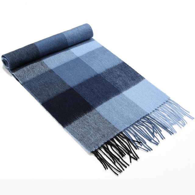 100% WOOL  Scarves Winter Men's Business Classic Plaid Cashmere Scarf Shawls Cotton Designer Thickening Tassel Scarf male MD115