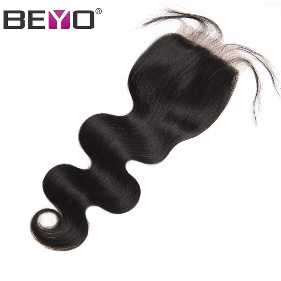 Beyo Brazilian Body Wave Lace Closure With Baby Hair 100% Human Hair 4x4 Free Part Non-Remy Hair Natural Color Free Shipping