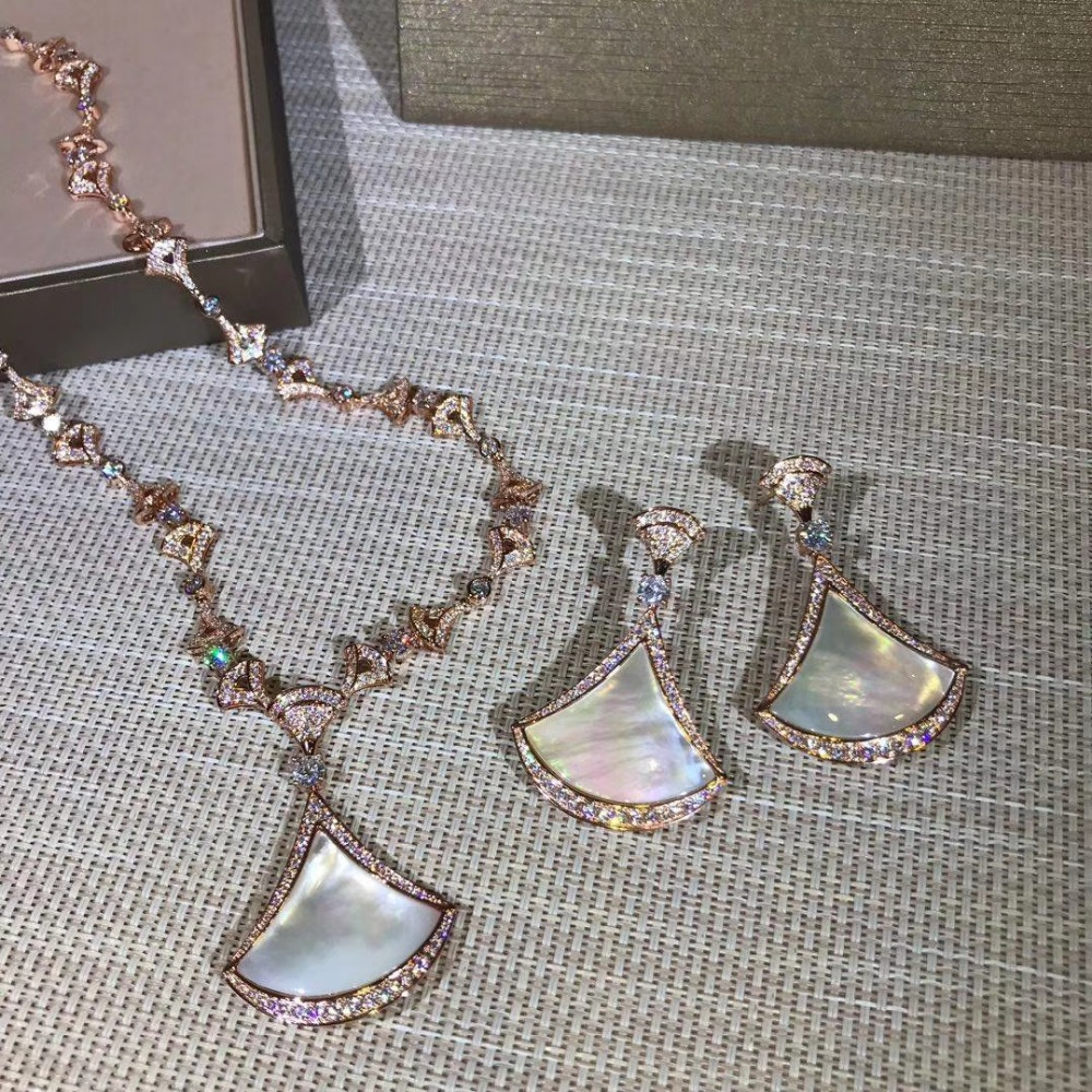 New cubic zircon mother shell pearl fan pendant long necklaces and earrings rose gold color jewelry