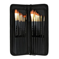 15 Long Art Brush Set Nylon Watercolor Oil Acrylic Artist Paint Brushes Come with Long Handle Pop up Stand