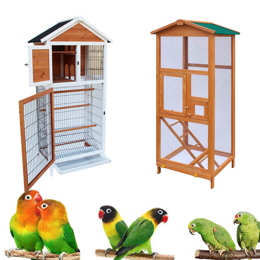 "64""65"" Bird Cage Wooden Parakeet Canary Finch Conure Aviary with Play House Only Ship to US"