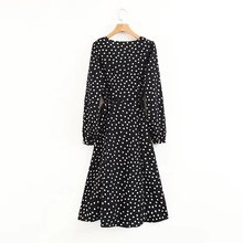купить Summer Floral Dress 2019 vintage boho Sexy deep V neck Polka Dot wrap dress women long sleeve black chiffon party beach dress дешево