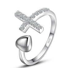 Women Fashion Cross Ring Band Engagement Heart Adjustable Finger Ring Band Solid 925 Sterling Silver Trendy Jewelry Accessory
