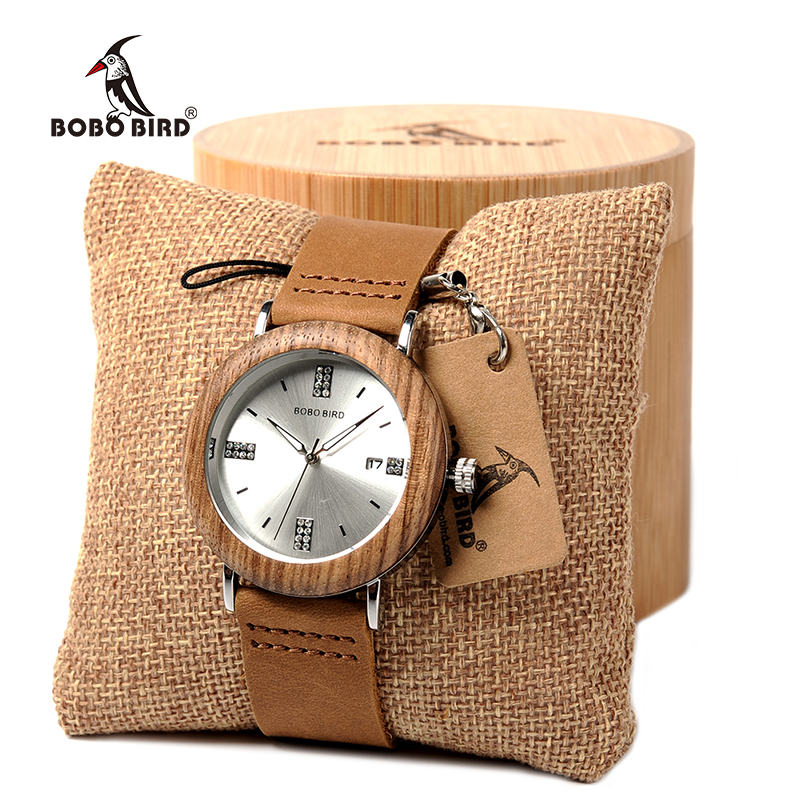 BOBO BIRD Imitation diamond Quartz Watches Stainless Steel Watch with Leather Strap for Men Women in Gift Box custom logo bobo bird men s wooden watch with all wood strap quartz analog with diamond relojes hombre gifts in wood box custom logo