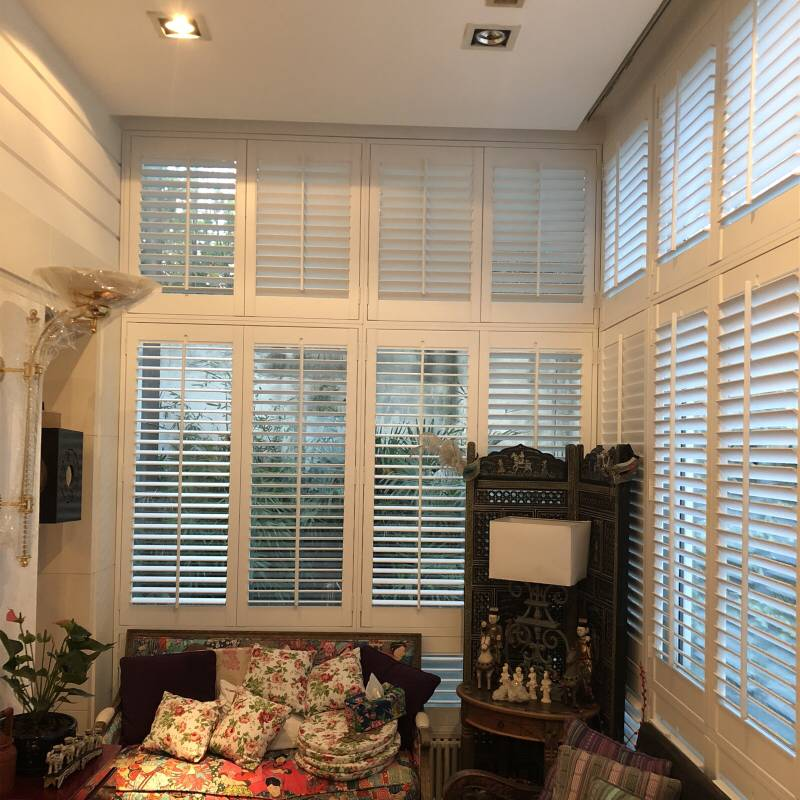 Free Shipping New Fashion Morden Design Real Wood Custom Made DIY Basswood Tier On Tier Plantation Shutters