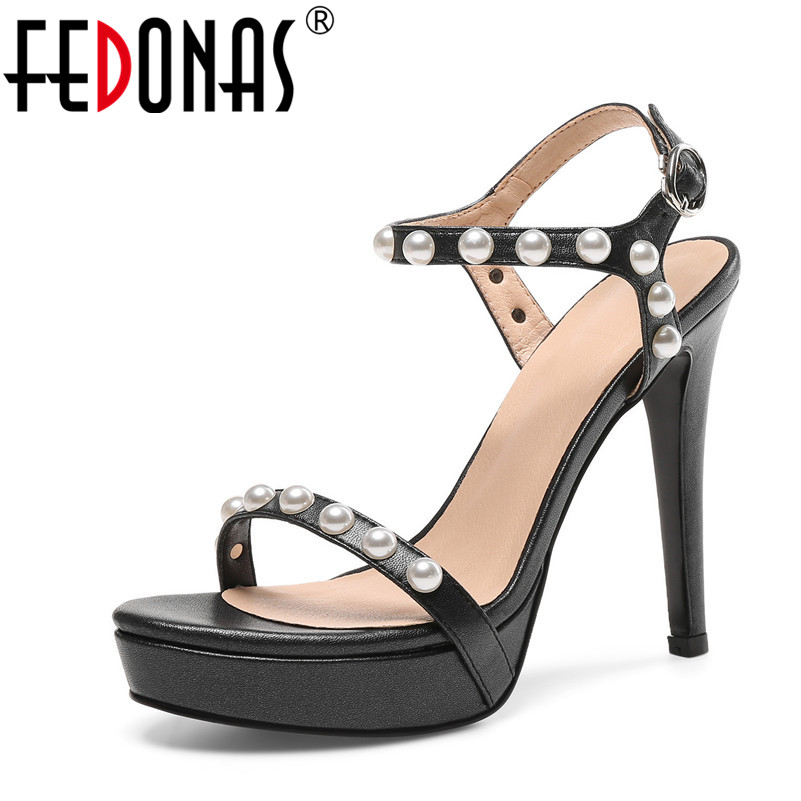 FEDONAS Shoes Woman Summer Genuine Leather Shoes Gladiator High Heels Sandals Open Toe Platform Ladies Wedding Party Shoes crystal high heels shoes platform transparent pvc cross strap women gladiator sandals square toe nightclub party wedding shoes