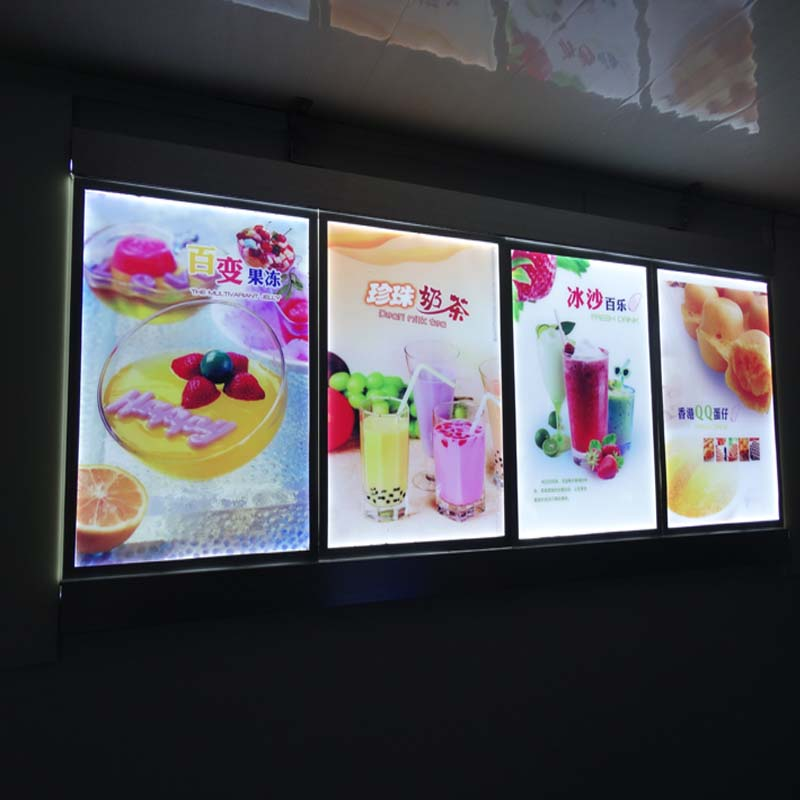 3 Graphics Column Single Sided Lighted Menu Boards Led