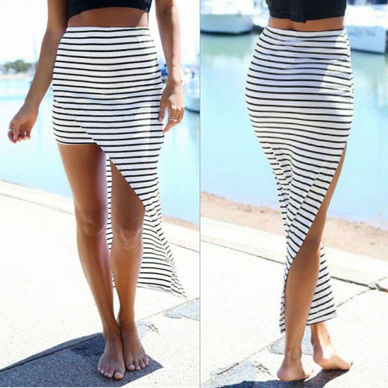 2017 New Fashion Women Summer Casual Beach Bandage Pencil Skirt Side Split Black White Stripes Irregular Sexy Long Maxi Skirts