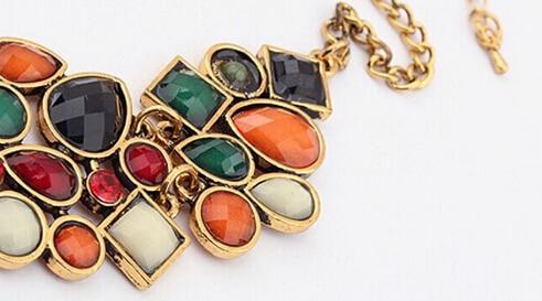 Bohême ethnique collier et pendentif Multi couche perles bijoux Vintage déclaration sautoir femmes à la main acrylique bijoux 2