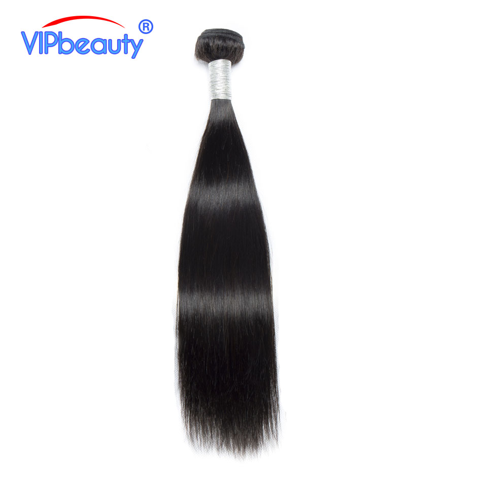 Vip beauty Brazilian Straight Hair Human Hair Bundles Weave Remy hair Extensions Natural Color 1B 10-28 Inch 1 Piece Only