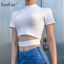 Forefair Crop Top Turtleneck Sexy Bandage Trendy Hollow Out Bodycon Ulzzang Cotton Short Sleeve Plain Summer 2019 Women T Shirt