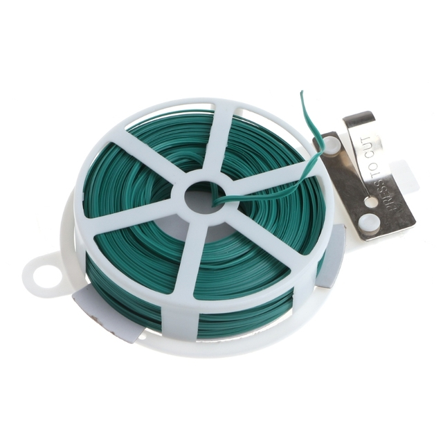 30m/50m Garden Twist Tie Wire Cable Reel With Cutter Gardening Plant ...