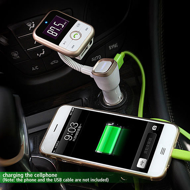 Newest!! Wireless Bluetooth Car Kit  FM Transmitter With USB Charger MP3 Player Support USB SD Card + 3.5mm line-in jack