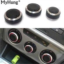Автомобильные аксессуары, ручка кондиционера, регулятор тепла, ручка переключателя для Volkswagen Polo 2004-2013, алюминиевый сплав, 3 шт