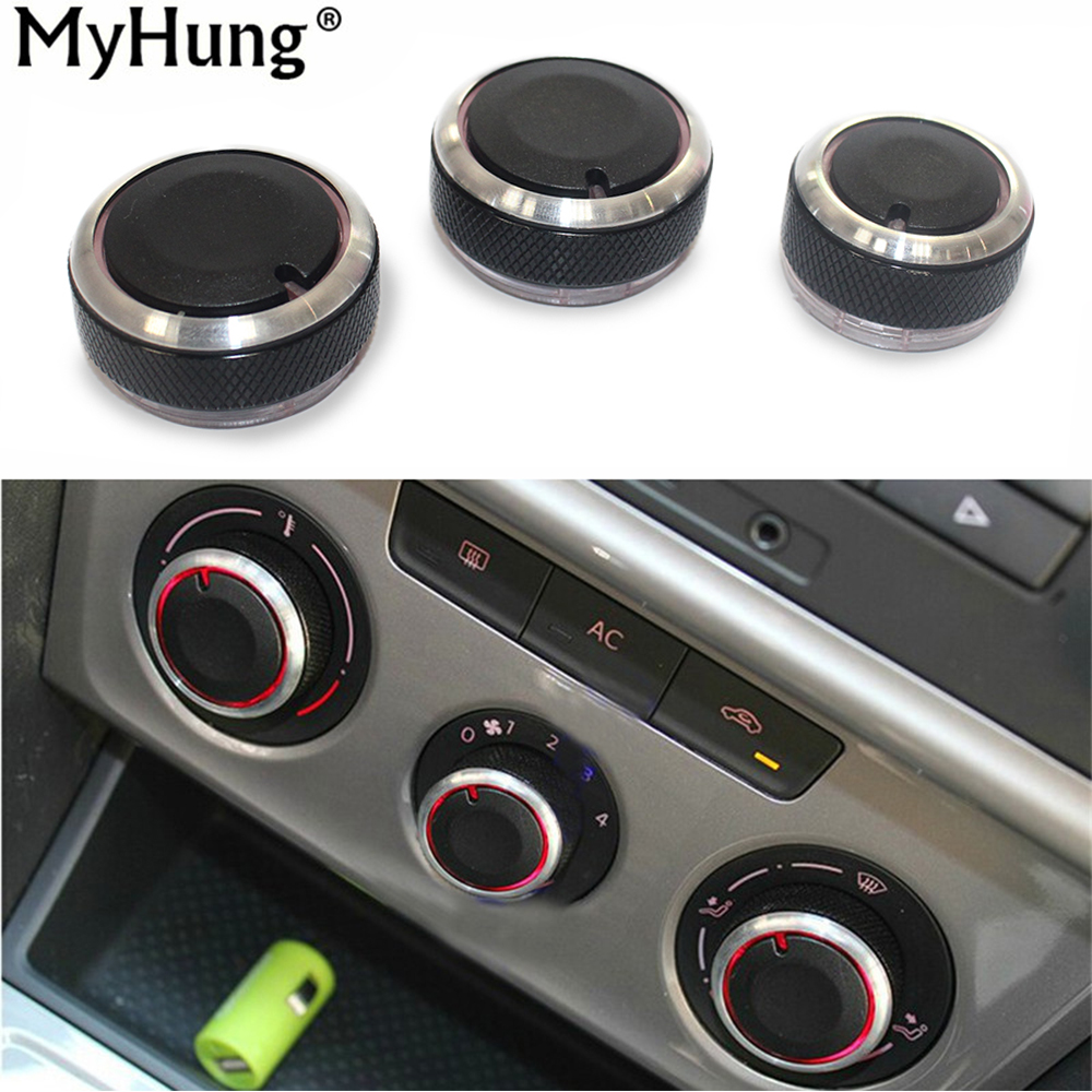 Car Accessories AC Knob Air Conditioning Heat Control Switch Knob For Volkswagen Polo 2004-2013 Aluminum Alloy 3pcs aluminum alloy air conditioning heat control switch knob ac knob for volkswagen vw lavida passat b5 bora golf 4 car styling