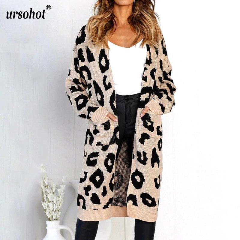 Ursohot 2018 Fashion Knitted Cardigans Long Coats Pocket Long Sleeve Women Sweater Female Loose Warm Coats For Women Outwear