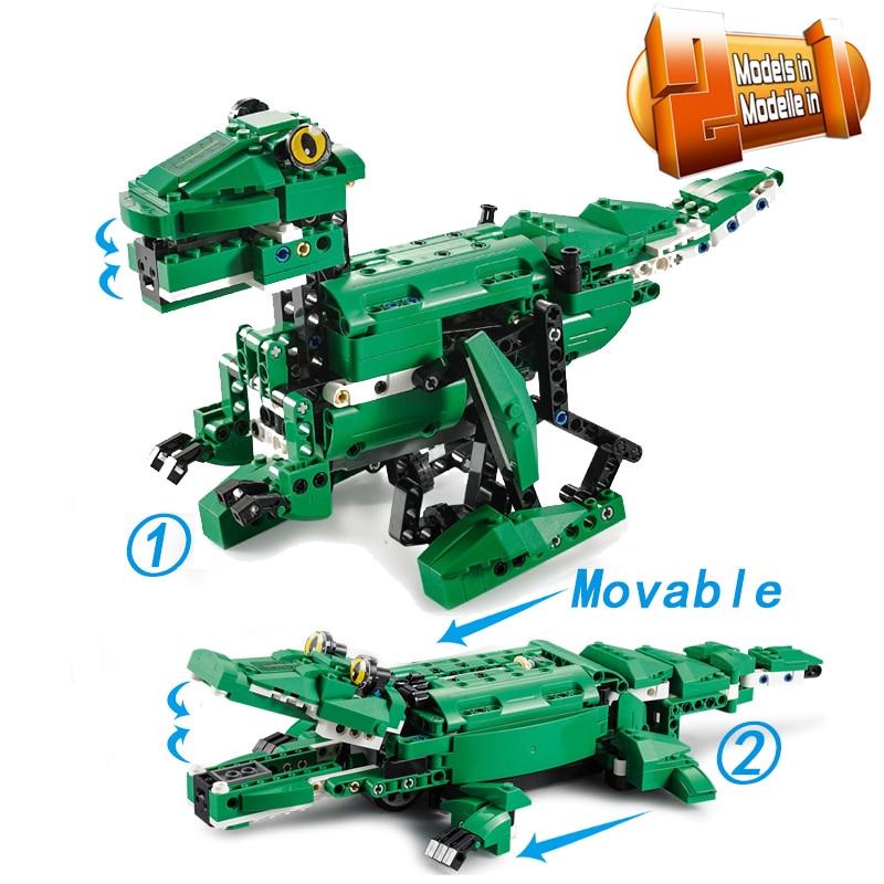435pcs MOC 2IN1 Dinosaur Animals Crocodile Remote Control Technic Motor Box Building Blocks Bricks Creator Toys