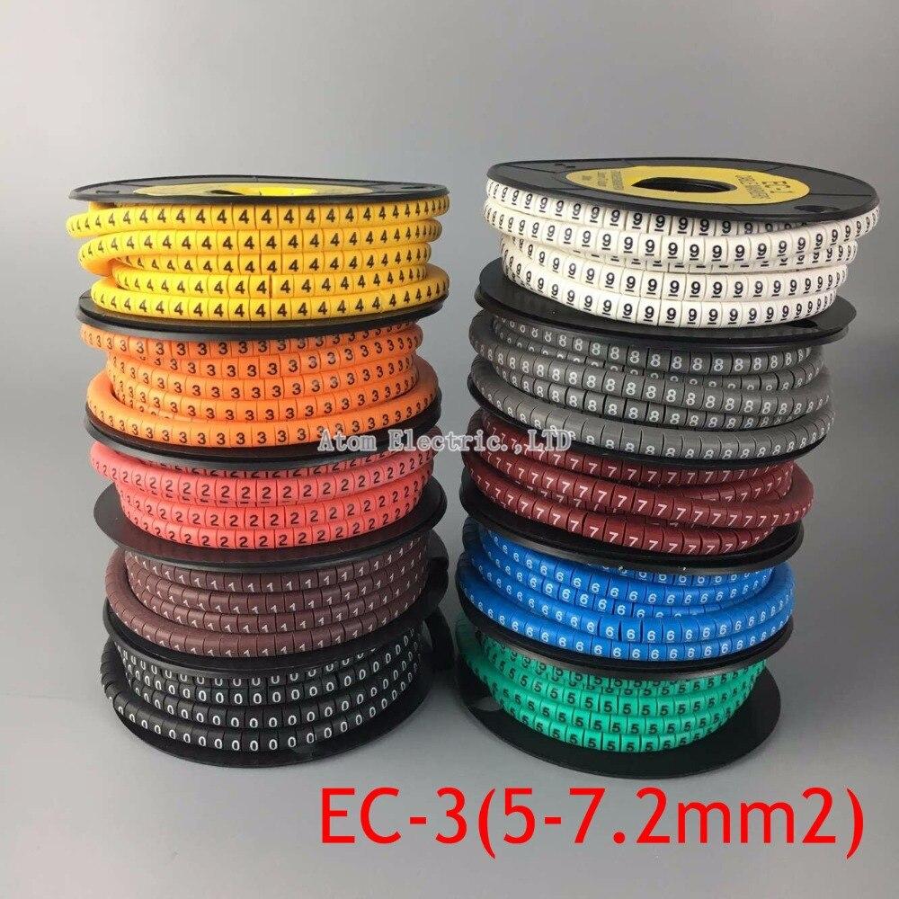EC-3 6sq. mmCable Marker Brief 0 bis 9 500 STÜCKE (Each50pcs) für ...