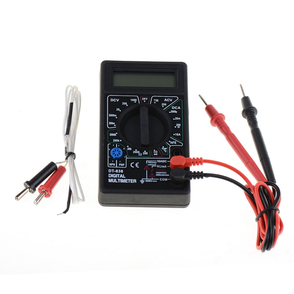New 1 pcs DT-838 Digital Multimeter Volt/ Amp/Ohm/Temperature Meter Vehicle Voltage Tester Tools цена