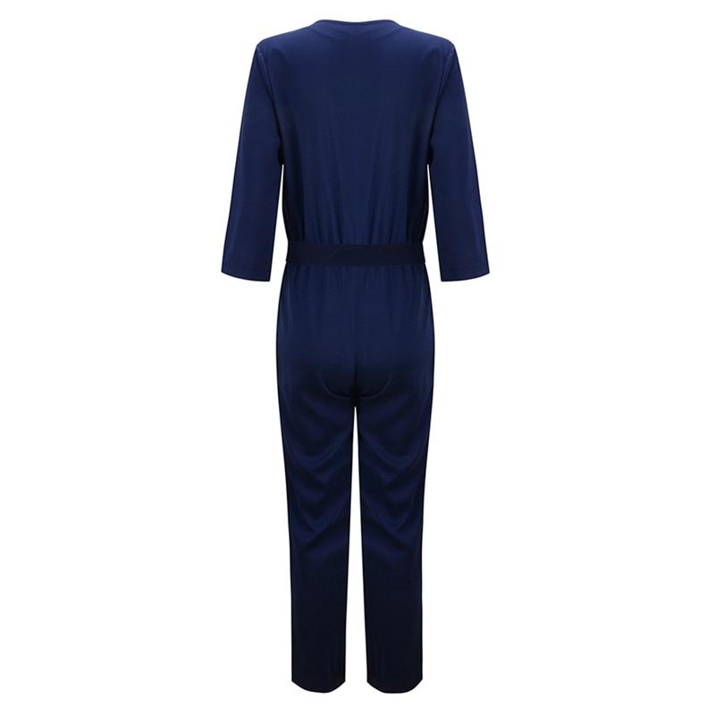 b7da12ac665 autumn V Neck Long Sleeves elegant Jumpsuits Womens 2018 Europe Street  Classical Formal Full Length Loose ...