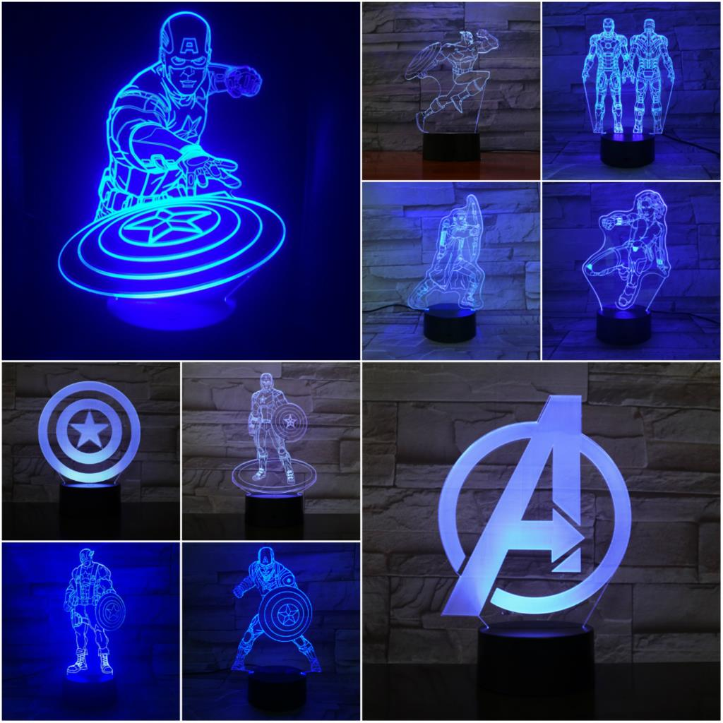 Creative Cartoon Marvel 3D Lamp Children's Luminaria Night Light Captain America Iron Man Widow Multicolor LED USB Touch Kid Toy image