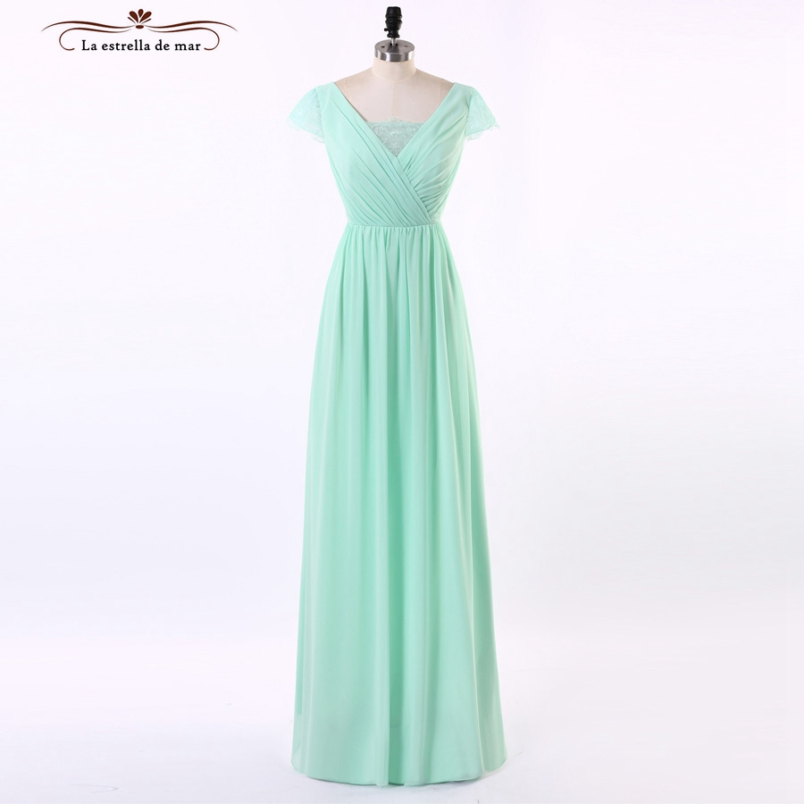 Brautjungfernkleid 2019 New lace and chiffon a Line mint green   bridesmaid     dresses   long cheap vestido madrinha Hot