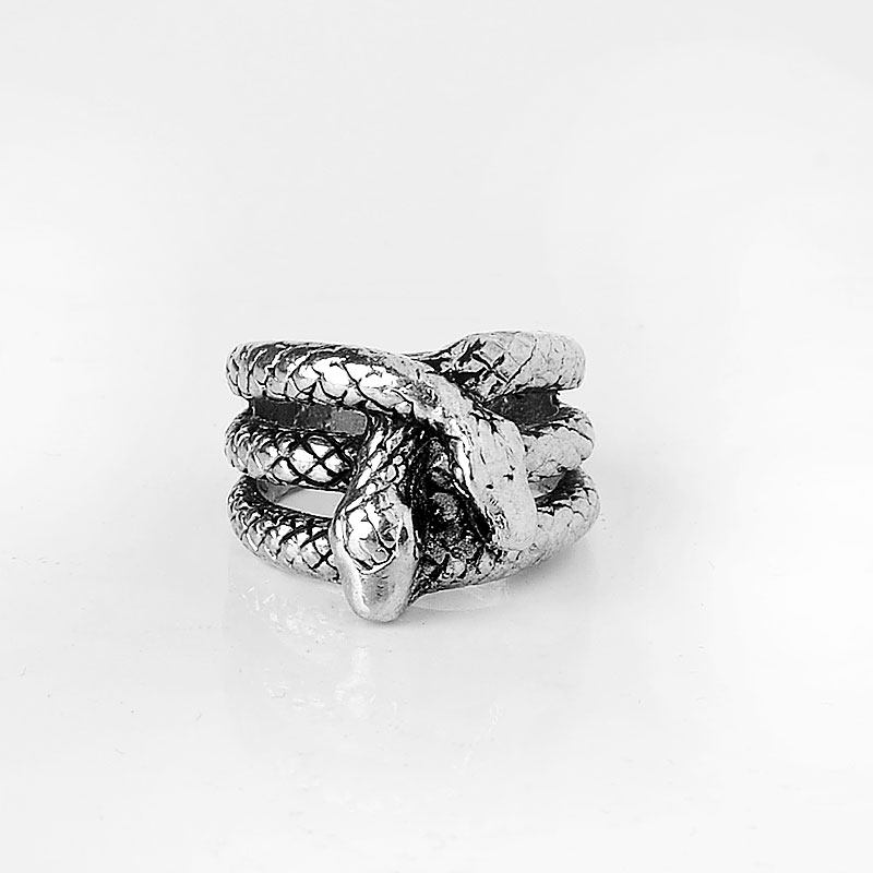 High Quality Vintage Retro Men Casting Ring Stainless Steel Double Snake Head Finger Ring For Party Jewelry Gift