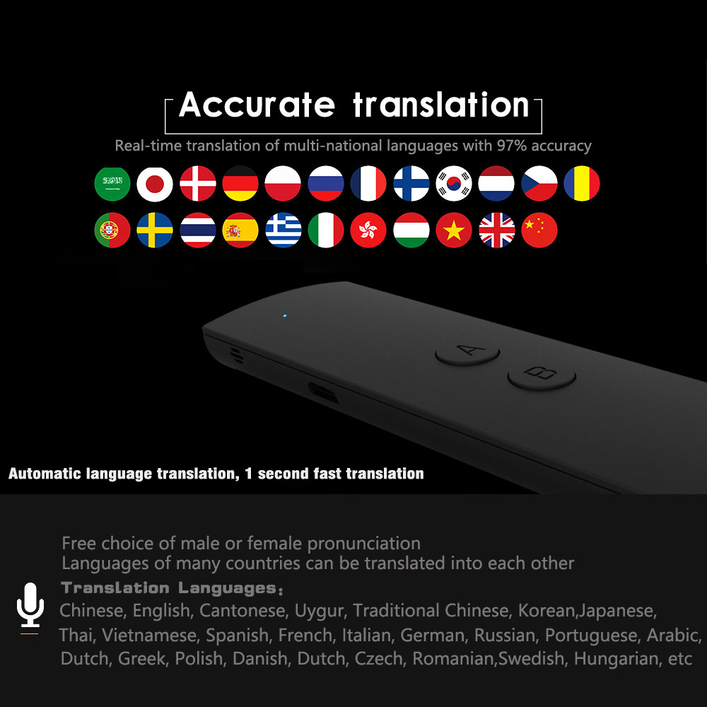 Portable Smart Voice Translator Bluetooth Two-Way Real Time Multi-Language Translation for Learning Travel Business Meeting Text image