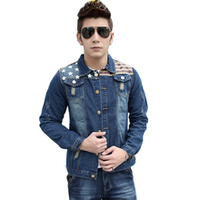 male denim jacket stripe patchwork jeans jacket casual blue bomber jacket for men 2017 new autumn winter brand men denim coat