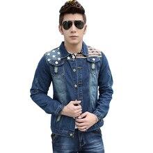 male denim jacket stripe patchwork jeans jacket casual blue bomber jacket for men 2017 new autumn