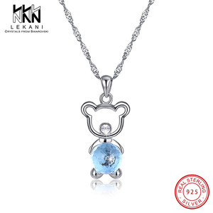 3 Colors Bear Hold Round Crystals From Swarovski Pendant Necklace 925 Silver Cute Bear For Women Lovely Fine Jewelry Anniversary