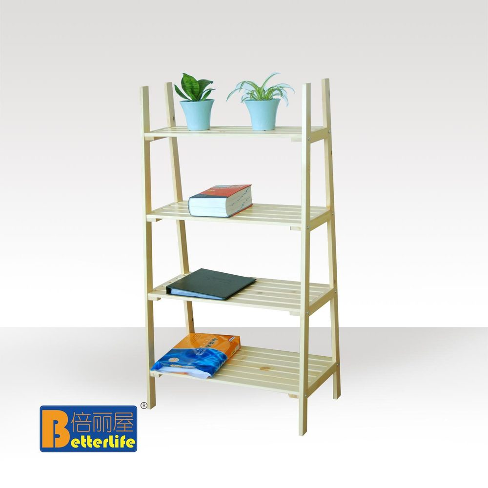 Estilo IKEA cuatro pisos de madera escalera estante ...