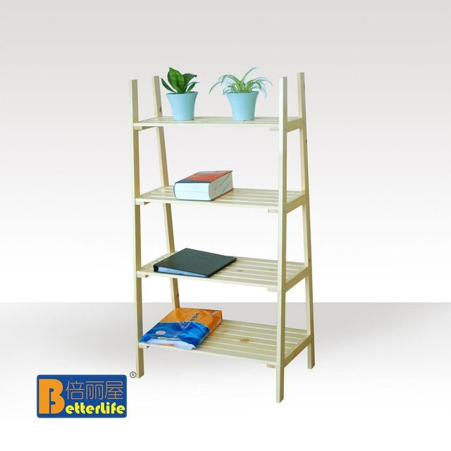 Ikea Style Four Story Wood Shelf Ladder Rack Kitchen Storage Rack