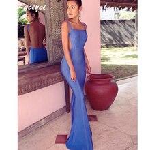 Laceyce 2017 Chic Elegant Women Bandage Dress Sexy Blue Spaghetti Strap Long Dress Vestidos Celebrity Party Dress Maxi Dresses
