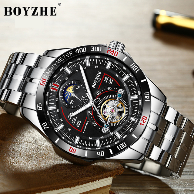BOYZHE Mens Automatic Mechanical Fashion Top Brand Sports Watches Luxury Tourbillon Moon Phase Stainless Steel Watch Clock saat