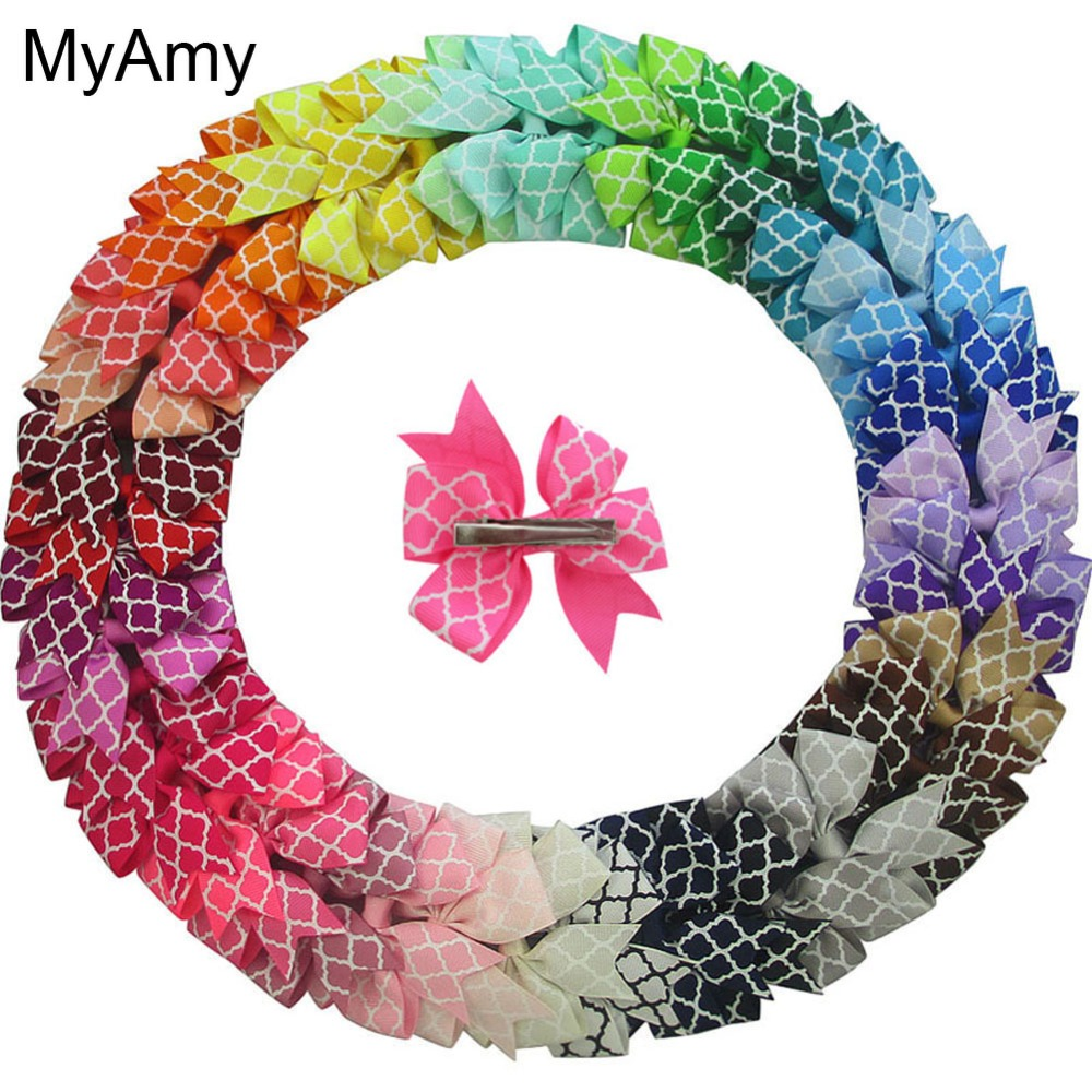 MyAmy Free Shipping 40pcs/lot 3.2'' quatrefoil grosgrain ribbon boutique pinwheel hair bows WITH alligator clips hair accessory