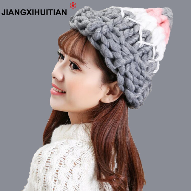 jiangxihuitian Women Winter Warm wool Hat Handmade Knitted Coarse Lines  Cable Hats Knit Cap Candy Color Beanie Crochet Caps b2925c9a4b2