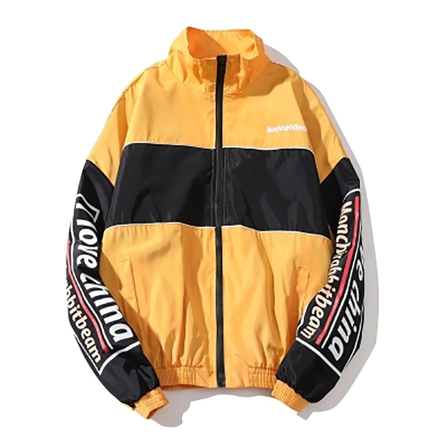 Vintage Men Jackets Summer Reggae Retro Windbreaker Jacket Men Streetwear Hip Hop Color Block Stand Collar Zip Track Coats 5Jk49