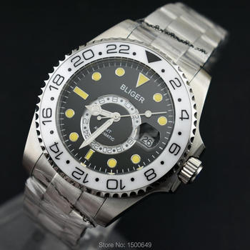 BLIGER 43mm new 2 4 6 ... 22 Ceramic Rotate Bezel black dial with yellow beads function date automatic mens Wrist watch