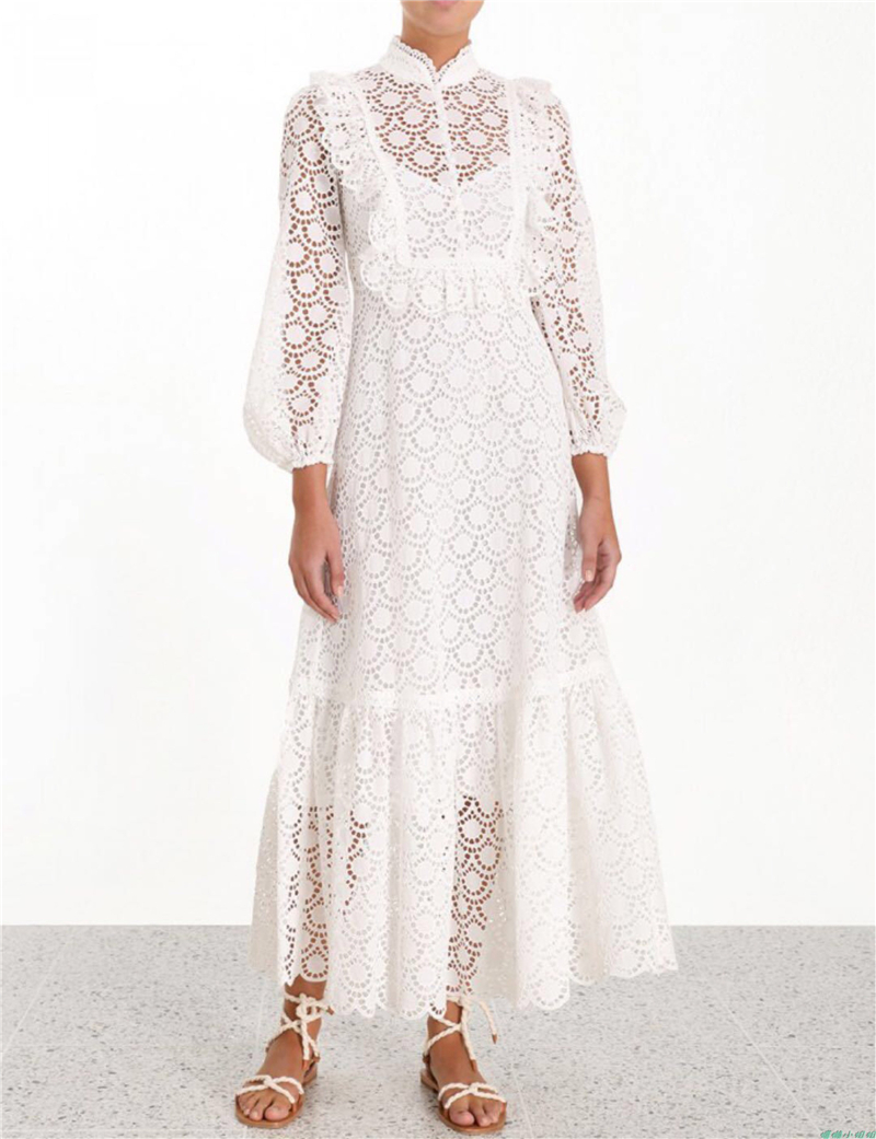 2019 New arrive white women lace dress puff sleeve stand collar lady midi dress hollow out