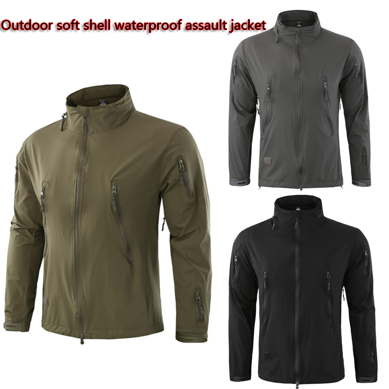 New outdoor soft shell jacket mens single-layer hooded collar waterproof spring and autumn quick-drying thin mountaineeringNew outdoor soft shell jacket mens single-layer hooded collar waterproof spring and autumn quick-drying thin mountaineering